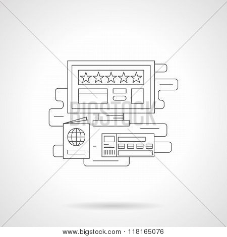 Online booking detail line vector icon