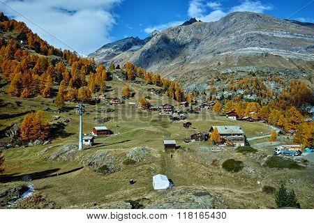 Autumn panorama of Swiss Alps, Canton of Valais, Switzerland