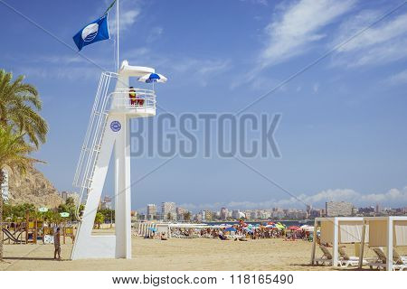 Beach Playa Del Postiguet, Lifeguard On The Tower, Alicante, Spain