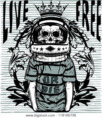 Tee Graphic Skull Astronaut Man White Background