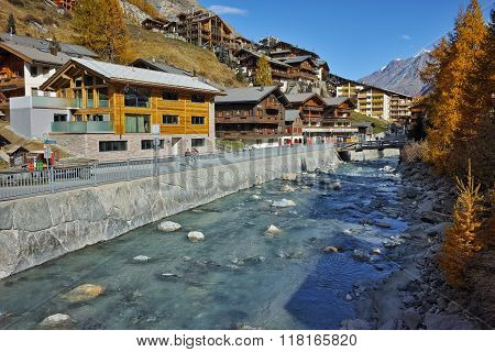 Panoramic view of Zermatt Resort, Canton of Valais, Switzerland