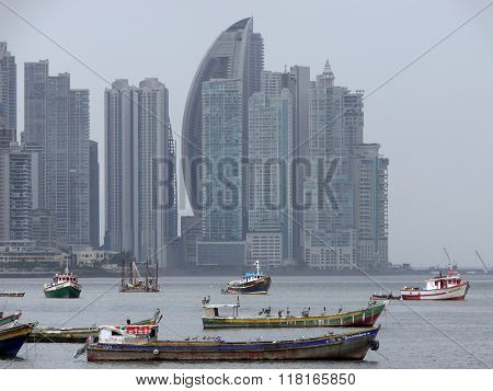 Boats And Panama Skyline