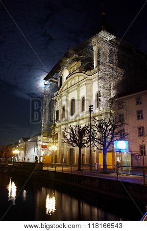 Night photo of Jesuit Church in Luzern, Canton of Lucerne, Switzerland