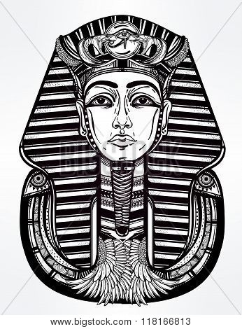 Hand-drawn vintage tattoo vector art of pharaoh.