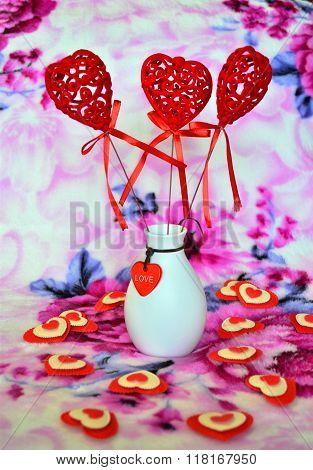 bouquet in white ceramic vase