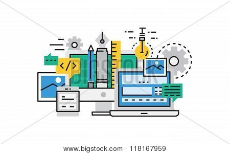 Flat line design vector illustration concept of Web Development, Web Design, Web Programming and Cod