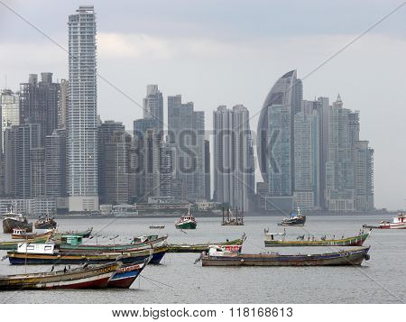 Fishing Boats In Front Of Panama Skyline