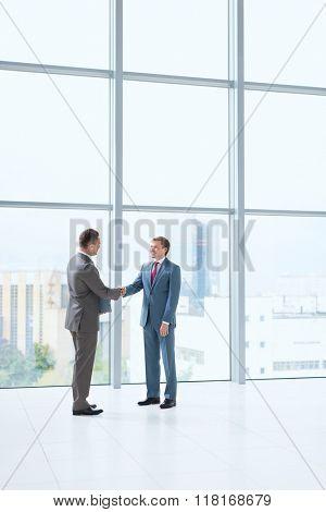 Business partners handshake in office