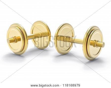 Isolated 3D Golden Dumbell Illustration