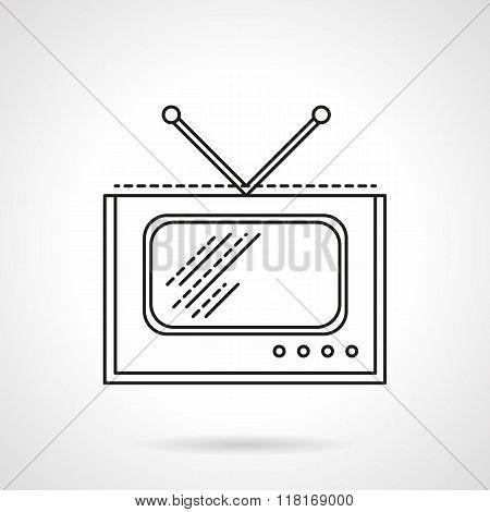 Flat line TV vector icon