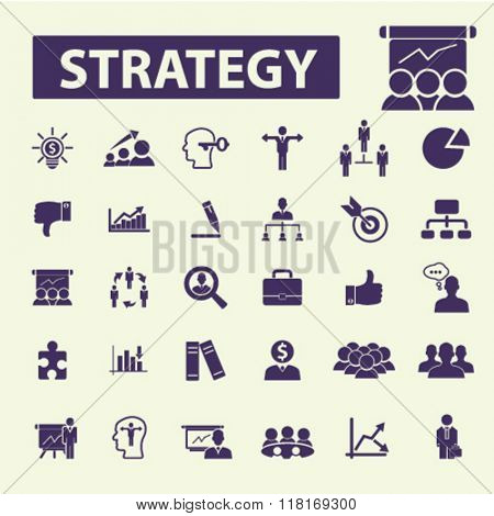 Strategy icons, strategy concept, business strategy, strategical decision icons, strategy logo, strategy signs
