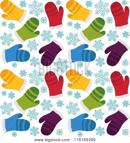 Colorful mittens seamless pattern