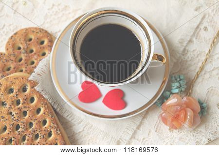 Cup Of Coffee And Felt Hearts. Top View, Soft Focus.
