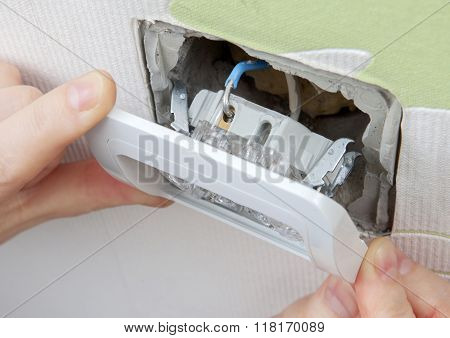 Install Wall Light Switch Insert Into Electrical Box
