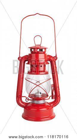 Lantern kerosene oil lamp, isolated on white background
