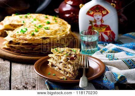 Blinis Pie With Mushroom