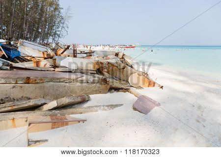 Ruins of architectural building after the tsunami on an island in the Andaman Sea, Thailand.