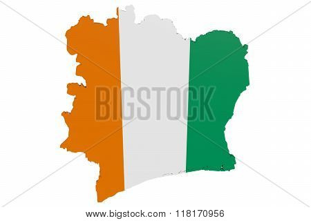 Cote d'Ivoire Flag Map