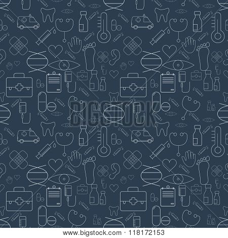 Thin Medical Line Health Care White Seamless Pattern. Vector