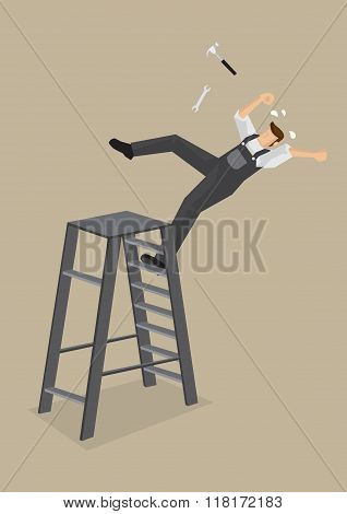 Worker Falling From Ladder Vector Illustration