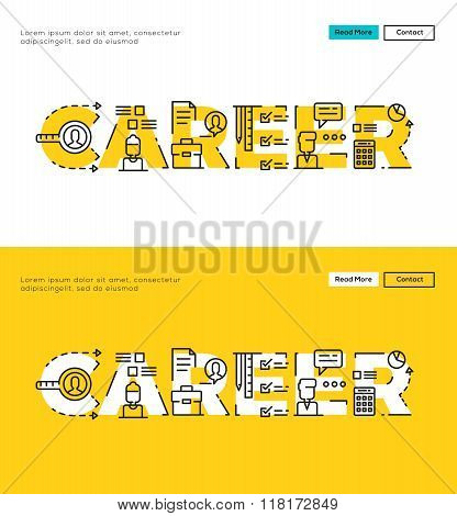 Modern Flat line design concept of Career. Flat line design for Website Element ,Web Template , Web