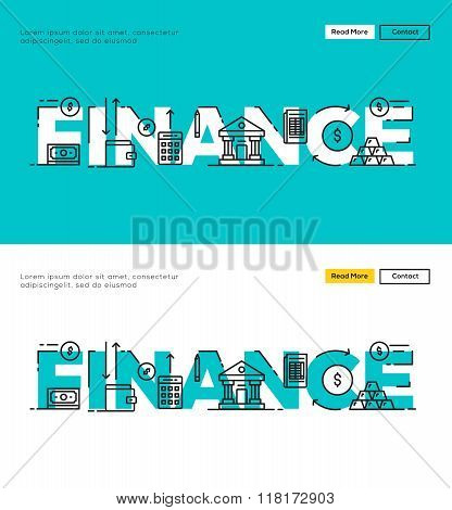 Modern Flat line design concept of Finance and Financial Management. Flat line design for Website El