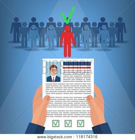 Recruitment For Business. Hands Hold Cv Profile Of Candidate. Human Resources