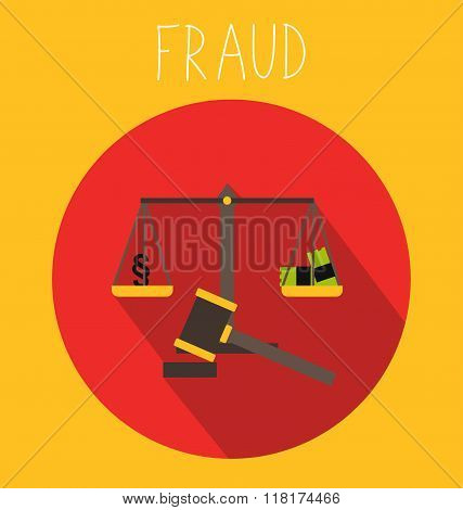 Fraud icon with scale