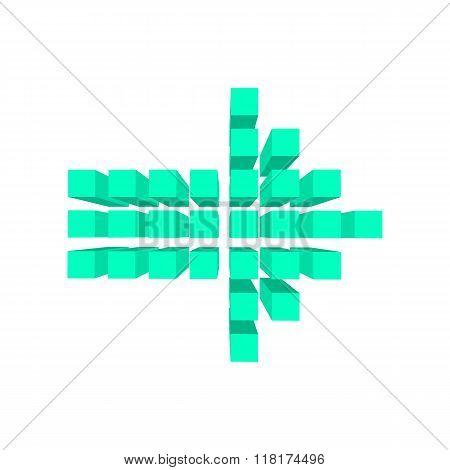 Arrow made of squares cartoon
