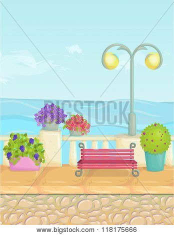 Sunny Cartoon Seafront Landscape, Vector Seaside Background. Stone Fence, Plants, Flowers, Benches,