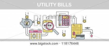 Flat Vector Thin Line Scribble Header Banner Illustration Of How To Pay And Calculate Utility Househ