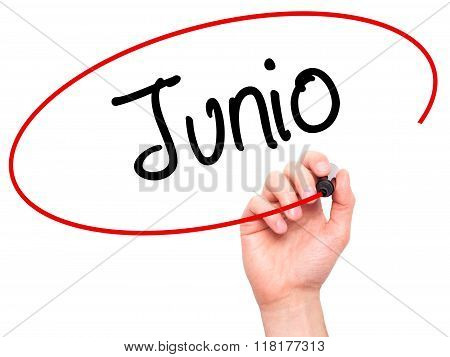 Man Hand Writing Junio (june In Spanish)   With Black Marker On Visual Screen