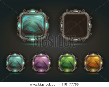 Beautiful vector magic shiny square buttons