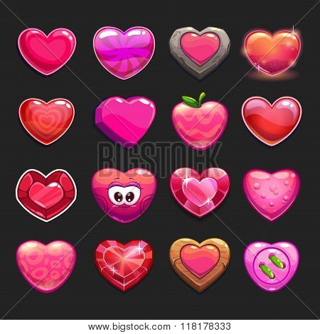 Cartoon vector heart icons set