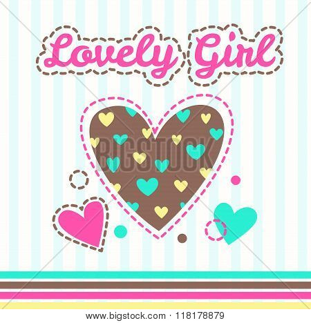 Cute girlish illustration with hearts