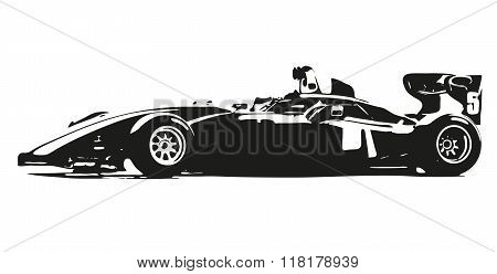 Formula Car Vector Silhouette Illustration
