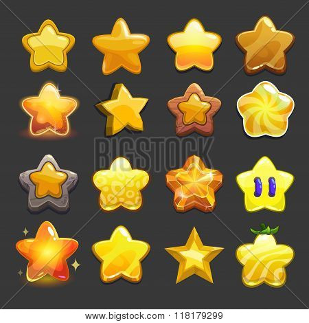 Cartoon vector star icons set