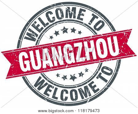 welcome to Guangzhou red round vintage stamp