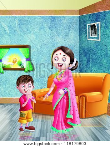 Nursery Rhyme,Rhyme, Morning, wish, Room, kid, Sofa, Son, Mother, lady