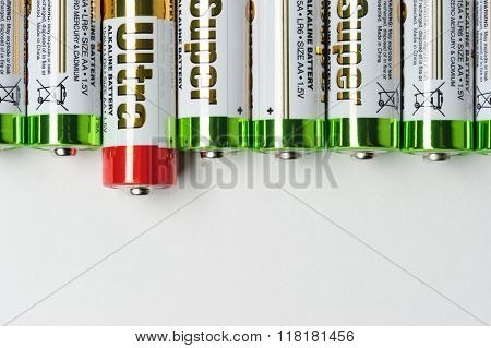 Batteries in row