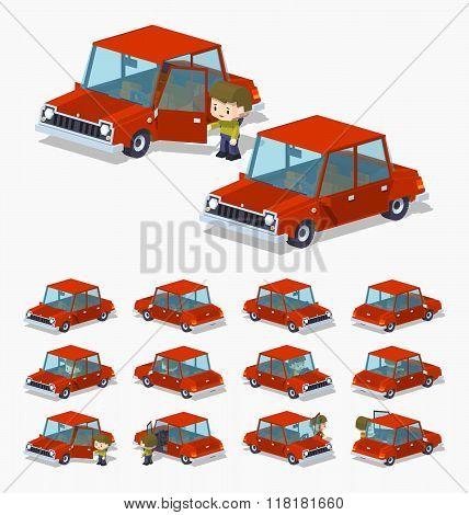 Old red sedan