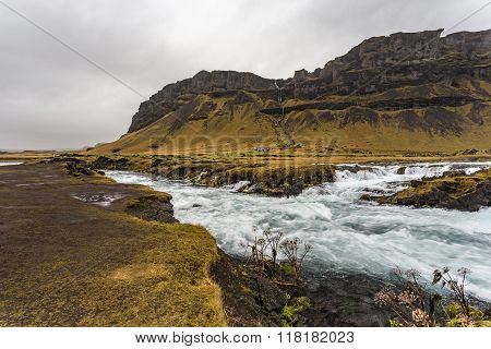 Wild River And Mountains In Iceland, Autumn Landscape