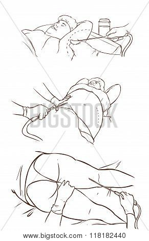 Black And White  Background Vector Illustration Of A Liposuction