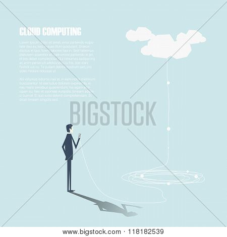 Businessman with smartphone sending data to cloud computing storage. Technology vector background.