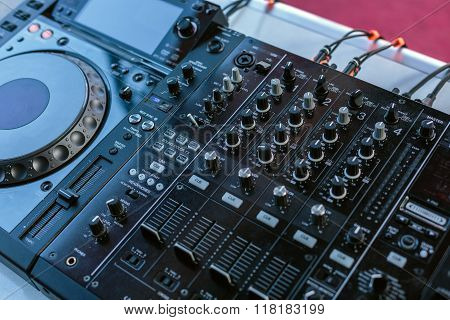 Modern Dj Sound Mixer Closeup, Entertainment Themes