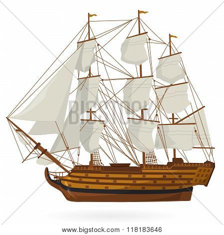Big old wooden historical sailing boat - galleon on white. With sails, mast, brown deck, guns.