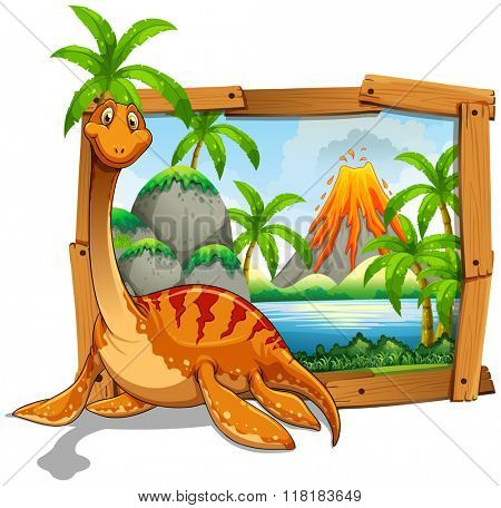 Wooden frame with dinosaur at the lake illustration