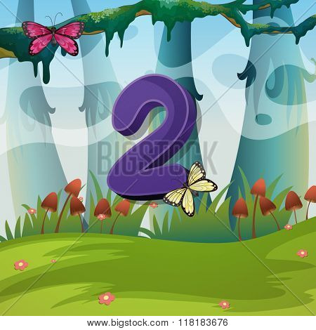 Number two with 2 butterflies in garden illustration