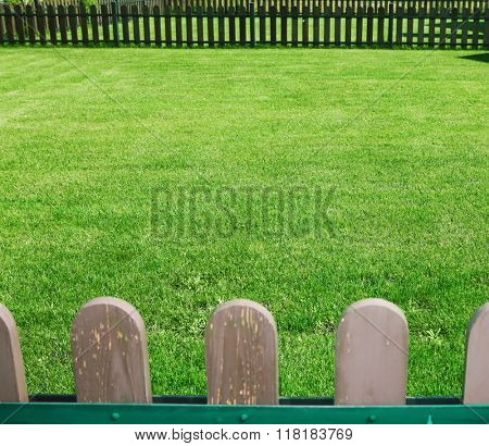 court yard with a green grass