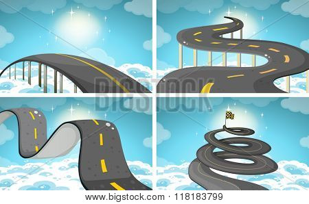 Four scene of roads in the sky illustration